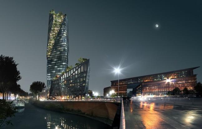 La tour d'Occitanie vue de nuit