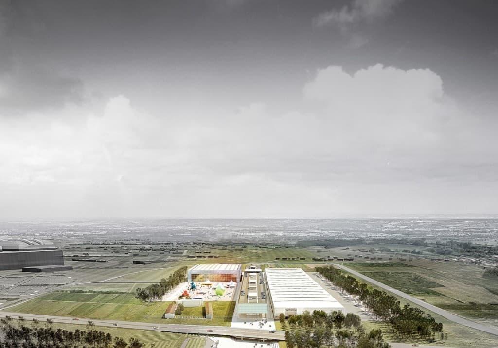 Vue aérienne du Parc des Expositions construit dans l'ouest de Toulouse