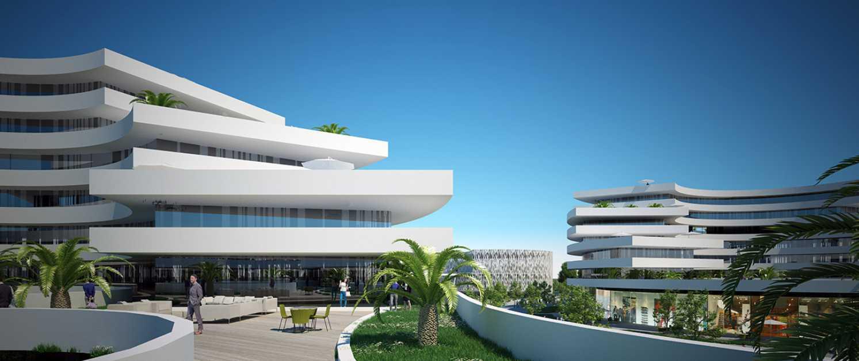 Vue d'une terrasse au sein du programme immobilier