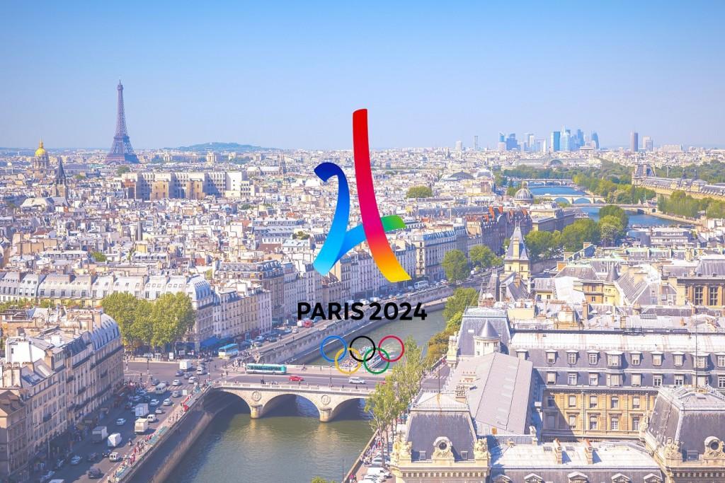 Vue de Paris et du logo JO 2024