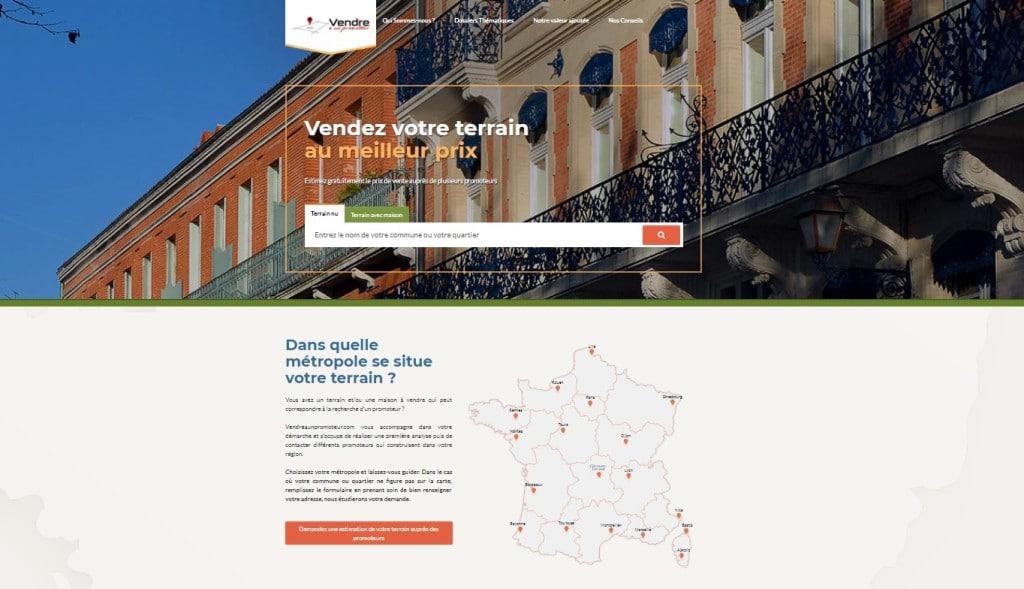 Capture d'écran de la page d'accueil de Vendreaunpromoteur.com