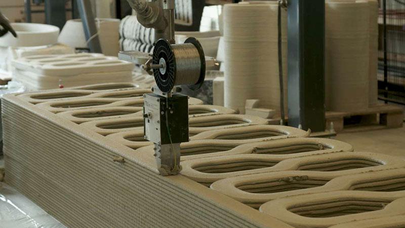Robot qui imprime le béton