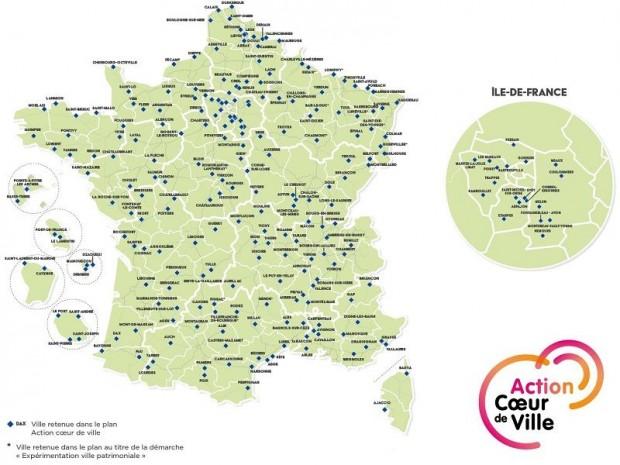 Les 222 villes du plan d'action Cœur de ville
