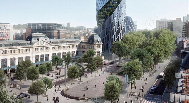 Le parvis de la gare avec la tour Occitanie