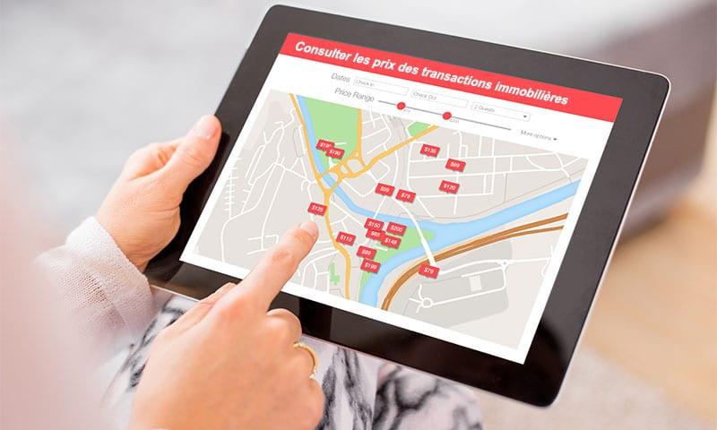 tablette permettant de vois les prix des transactions immobilières
